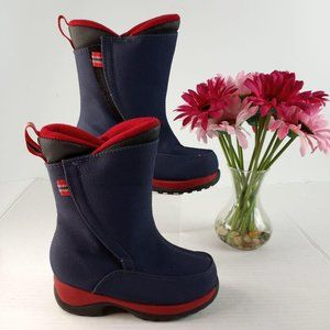 Lands' End Navy Blue and Red winter boots infant 9